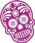 Mexican Day Of The Dead SUGAR SKULL In PURPLE & White External Vinyl Car Sticker 120x90mm